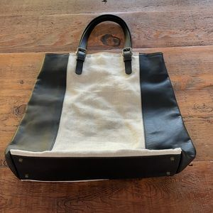 GERALD DAREL oatmeal canvas and leather tote.